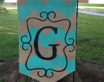 Burlap Garden Flag with Aqua Teal Blue Chevron Stripe scroll and Monogram