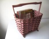 Rustic Magazine Rack, Sewing Basket, Shabby Chic Office Storage, Vintage Storage Basket, SALE