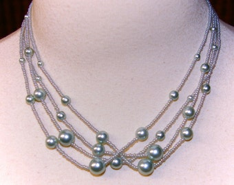 Silver Grey Pearl Necklace, Trifari with Crown Symbol, Vintage 1950's 1960's