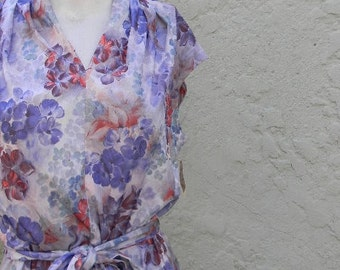vintage. 70s Blue Floral Jersey Dress // Deadstock // L to XL