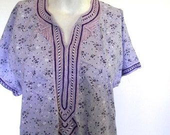 vintage. 70s Purple Caftan // Bohemian Moroccan Dress // S to M
