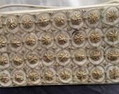 Vintage 1950's White Velveteen and Gold Bullion Evening Bag from India