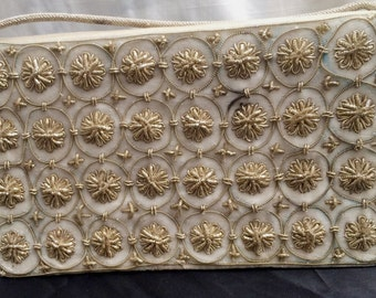 Vintage 1950's White Velveteen and Gold Bullion Evening Bag from India