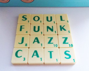 Soul Funk Coaster, Jazz Cats, Upcycled Scrabble Tiles, Cork Backing, Desk Accessory, Music Lover