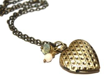 Heart Locket Necklace,Czech Glass Locket Necklace
