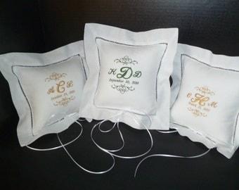 Linen Ring Bearer Pillow Custom Embroidered Monogram Bride and Groom Keepsake Pillow Insert Included