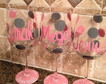 Girl's Weekend, Bridesmaids etc. Hand painted and Personalized Wine Glasses for Wedding Party Etc. Etc.