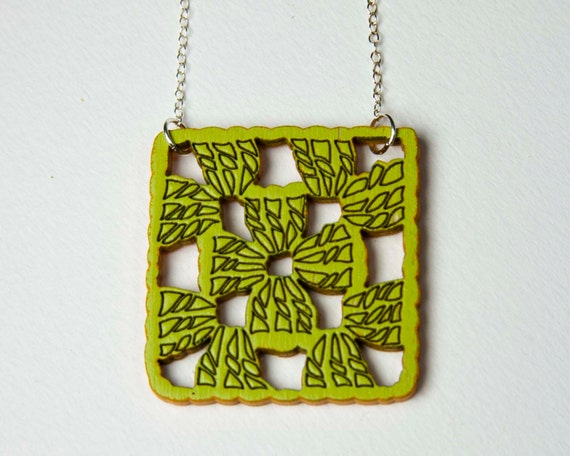 Granny Square Necklace Afghan Knitted Pendant