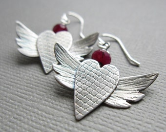 Stering Silver Winged Heart Ruby Earrings