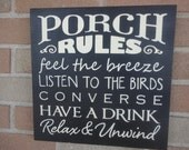 "Porch Rules Sign, Home Decor, Primitive  Wood Sign/12"" x 12"""