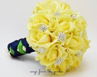 Yellow Roses & Rhinestones Bridal Bouquet Real Touch Bridal Bouquet Roses Groom's Boutonniere Yellow Navy Kiwi Wedding Bouquet Boutonniere