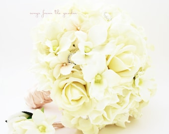 Silk Flower Bridal Bouquet Real Touch Roses  Peonies Orchids Hydrangea Rhinestone Pearl Real Touch Rose Groom's Boutonniere