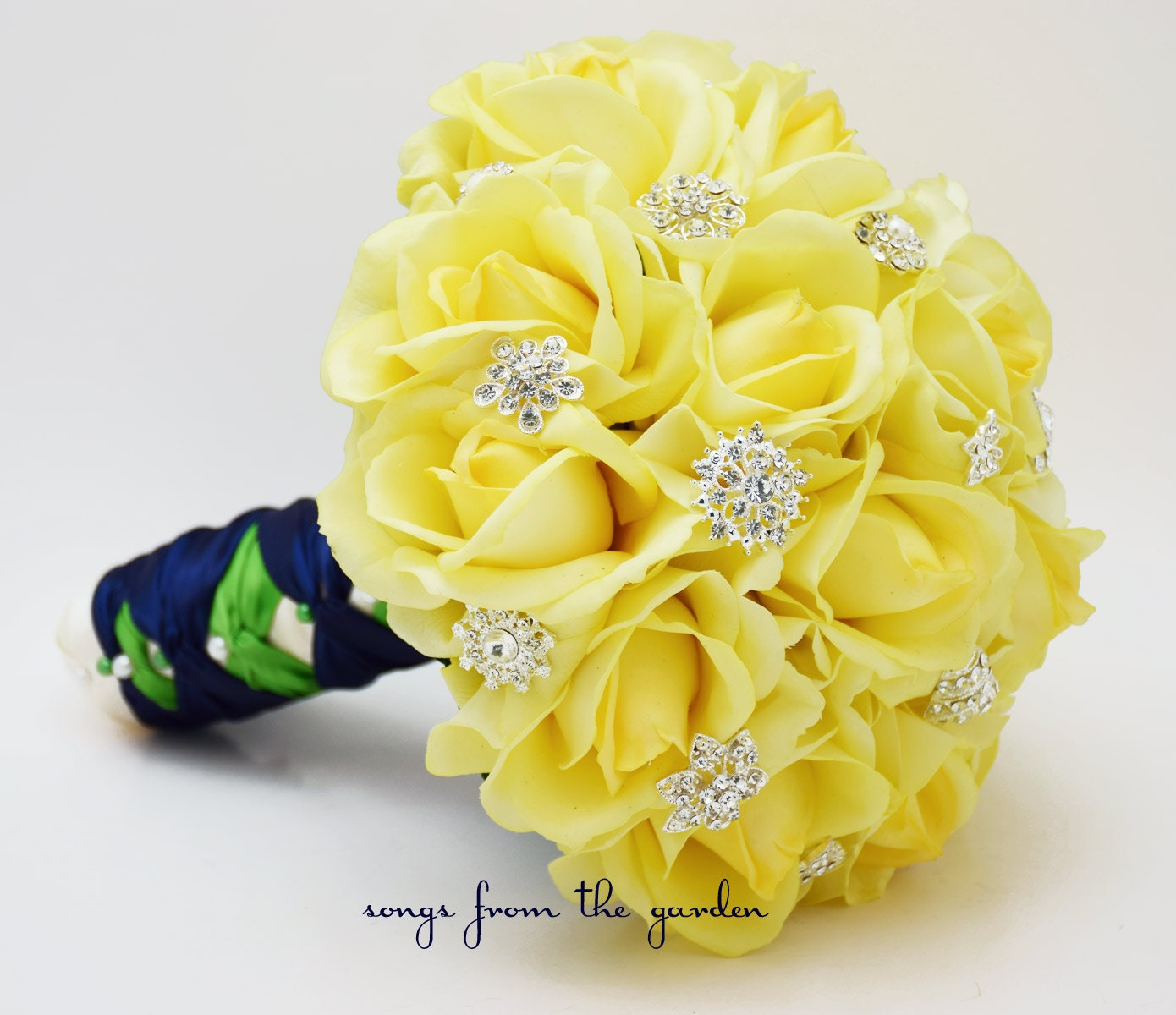 Wedding Flowers Yellow Roses: Yellow Roses & Rhinestones Bridal Bouquet Real Touch Bridal
