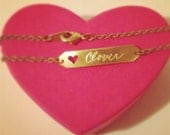 Hand Engraved ID Bracelet with Cut-Out Heart- Customized for Free. Perfect Valentines Gift