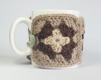 Granny Square Mug Cosy in Alpaca Yarn, Crochet Mug Hug, Mug Cozy