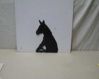 Donkey Sitting Metal Art Silhouette
