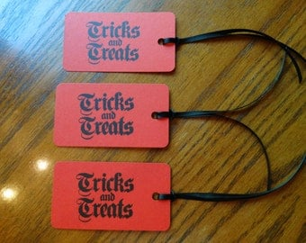 SET of 3 Scarlet Red Halloween Tricks & Treats Hang Tags