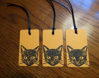 SET of 3 Orange Halloween Black Cat Hang Tags