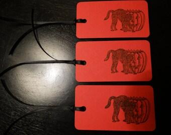 SET of 3 Scarlet Red Halloween Black Cat & Pumpkin Hang Tags