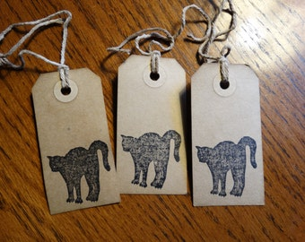 SET of 3 medium Primitive Halloween BLACK CAT  Hang Tags