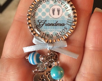 Grandma to be - Baby Boy, Personalized Gift, Baby Shower, First Baby, Pregnancy Announcement, Aqua Blue, Heart