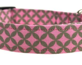 Starlight - Pink and Gray Geometric Dog Collar