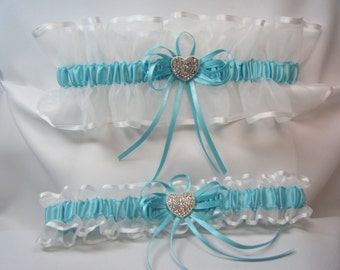 RHINESTONE HEART Wedding garters Light Turquoise Blue Garter set