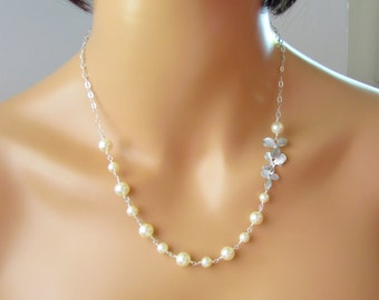 Silver Orchid and Swarovski Crystal Cream Pearl Necklace, Sterling Silver, Ivory Pearl Necklace, Wire Wrapped Jewelry for Brides Bridesmaid