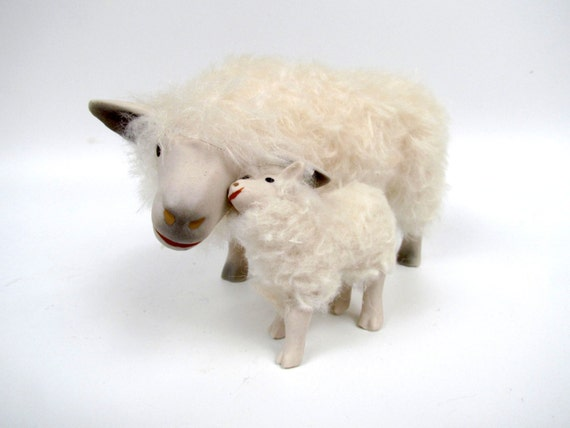Handmade Sheep Figures, English Cotswold Figure in Porcelain and Mohair Snuggling its Lamb