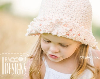 CROCHET PATTERN My Little Sunshine Summer Hat with Maple Leaf Applique PDF Crochet Pattern  with Instant Download