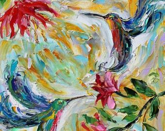 "Hummingbirds 16"" x 20"" Print made from image of Original painting by Karen Tarlton fine art"