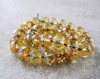 Picasso Czech Glass Beads, Fire Polished Faceted Rondelles, Donut Spacers, 6X9mm, Light Topaz & Metallic Picasso (20pcs) NEW