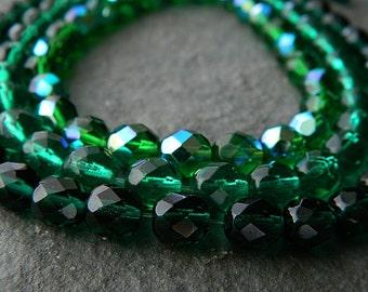 8mm Round Glass Bead Mix, Czech Glass Beads, Fire Polished Beads, Emerald Mix (18pcs) NEW