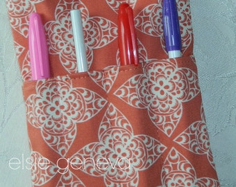 Coral Lace & Aqua Nurse Purse Pouch Case BP Cuff  Stethoscope Medical Bag Case  Personalization Choose Any Fabric in Shop