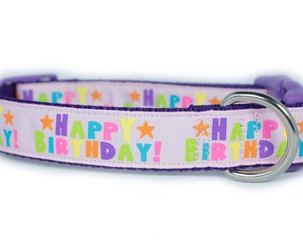 Pink Birthday Dog Collar, 1 inch wide, buckle or martingale, purple, gift, party, happy birthday, small, medium, large, XL