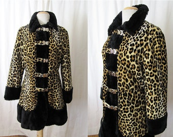 Killer 1960's Faux Leopard Fur Coat with Black Fur Trim Vintage Coat Rockabilly VLV Pinup Size-Medium-Large