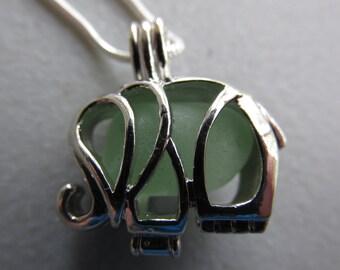 Elephant Sea Glass Necklace, Sea Glass Locket Pendant, Sea Glass Elephant, Pendant Seaglass Jewelry, Seaglass Pendant, Beach Glass Jewelry