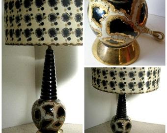 MidCentury Lamp, Vintage Black and Gold Lamp, MidCentury Modern Lamp, Atomic Lamp