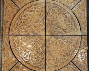 Decorative relief carved Celtic  handmade ceramic tile set