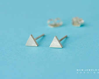 Super Tiny Sterling Silver Triangle Stud Earrings