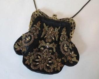 Vintage Indian Heavy Gold Zardozi Metallic Thread Embroidered Purse