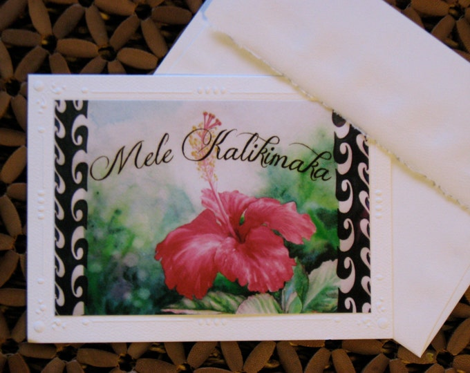 "Mele Kalikimaka Card, Red Hawaiian Hibiscus Christmas Card - One Art Print Card of Watercolor Paintng of ""Aloha""  blank w/ envelope Tropical"