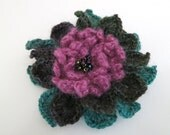 Maroon Turquoise Dark Rose Purple Forest Green Color Statement Crocheted Flower Hair Hat Scarf Brooch Pin