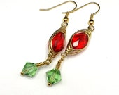 Ready to ship Festive Red and Green Herring Bone Gold Color Wire Wrapped  Czech Glass and  Crystal Earrings OOAK