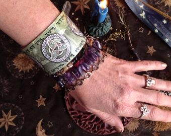 Oak, Ash, and Thorn Magic Spell Cuff Bracelet