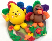 Thanksgiving Turkey Parker Figurine - Polymer Clay Character StoryBook Scene Sculpture - KatersAcres