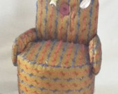 pin cushion chair my own design one of a kind gold fabric pins included great gift collectable
