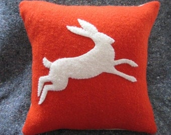 Hand Stitched Leaping Hare Pillow