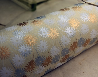 Retro Daisy Flower print handmade Wrapping Paper gift wrap set of two large sheets copper white silver
