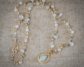 Beautiful moonstone, chalcedony and gold drop necklace.